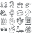 Black line icon collection of sea food vector image vector image