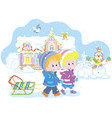children with a sled on a snowy winter day vector image