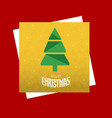 christmas card with tree and yellow pattern vector image vector image