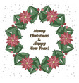 christmas wreath in doodle style vector image vector image