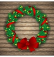 Christmas wreath with baubles and treeon vector image vector image