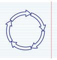 circular arrows sign navy line icon on vector image vector image