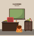 classroom elements design vector image
