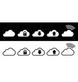 cloud icon set in white and black in flat style vector image vector image