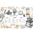 coffee and bakery restaurant menu 3 vector image vector image