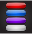 colored oval buttons 3d glass menu icons on black vector image vector image