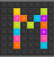colorful brick block letter m flat design vector image vector image