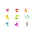 colorful rainbow set of cute girly fairies with vector image vector image