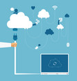 concept of wireless cloud network and distributed vector image vector image