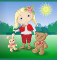 cute cartoon girl with toys teddy bear and rabbit vector image