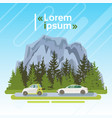 electrical cars on road over mountains summer vector image vector image