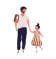 father leading his pupil daughter to school vector image vector image