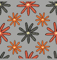 floral colorful flowers on a gray background vector image vector image