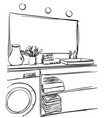 hand drawn bathroom washbasin mirror and other vector image vector image