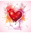 Hand drawn painted red watercolor heart vector image