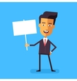 Handsome asian businessman holding banner vector image vector image