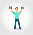 happy male standing training with gray dumbbell vector image