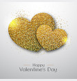 happy valentines day poster golden sparkle heart vector image vector image