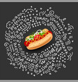 hot dog isolated icon on black background vector image