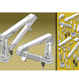 isometric mechanical arm in two positions vector image