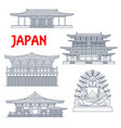 japanese temples japan pagodas and buddha shrines vector image vector image