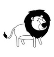 lion cartoon black silhouette in white background vector image