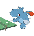 Little Hippo playing table tennis vector image vector image