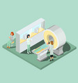 medical mri scanner medical personnel and patient vector image vector image
