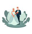 old couple wedding day elderly bride and groom vector image vector image