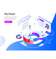 pie chart isometric concept modern flat design vector image