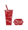Red grunge burger with a drink logo vector image