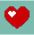 red heart icon in pixel style isolated love sign vector image vector image