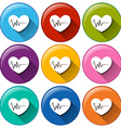 Round icons with hearts vector image vector image