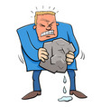 saying squeezing water from stone humor cartoon vector image vector image