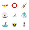 sea adventure icons set flat style vector image vector image