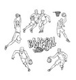 set basketball players in sports uniform vector image vector image