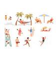 set different people on sea coast vector image