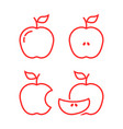 set red linear apples vector image vector image