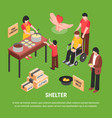 shelter isometric poster vector image vector image