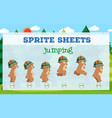 sprite sheet bear jumping vector image