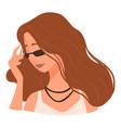 stylish teenage girl wearing sunglasses trends vector image vector image