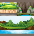 three scenes of forests and river vector image vector image