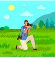 tourist with photo camera man photographer nature vector image vector image