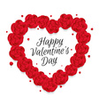 Valentines heart of red flowers roses vector image