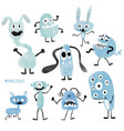 watercolour cute monsters set vector image vector image