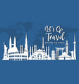 world famous landmark in paper style vector image
