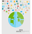World Social network with media icons vector image vector image