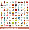 100 sport award icons set flat style vector image vector image