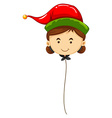 Balloon shape of woman wearing red hat vector image vector image