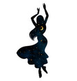 beautiful dancing gypsy silhouette with crescent vector image vector image